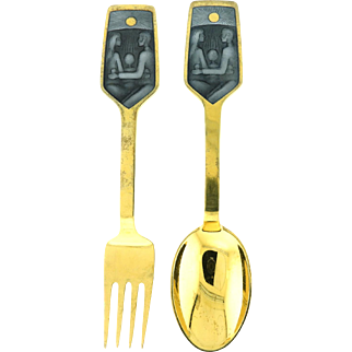 Michelsen Gilded Silver Christmas Spoon and Fork Collectible Set 1973