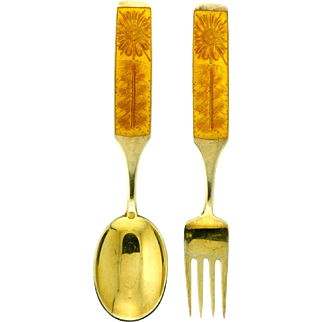 Michelsen Gilded Silver Christmas Spoon and Fork Collectible Set 1967