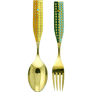 Michelsen Gilded Silver Christmas Spoon and Fork Collectible Set 1960