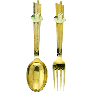 Michelsen Gilded Silver Christmas Spoon and Fork Collectible Set 1943