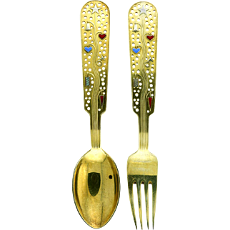 Michelsen Gilded Silver Christmas Spoon and Fork Collectible Set 1939
