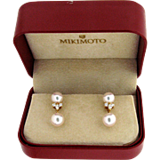 Stunning 18 karat Mikimoto Pearl & Diamond Detachable Dangle Earrings
