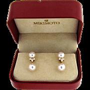 Vintage Mikimoto Pearl & Diamond Earrings