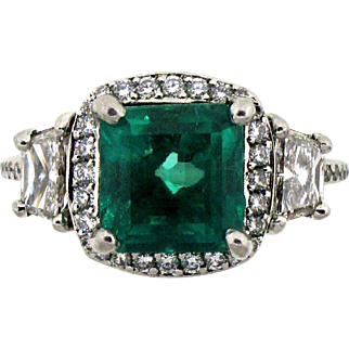 Michael Beaudry Emerald & Diamond Platinum Ring