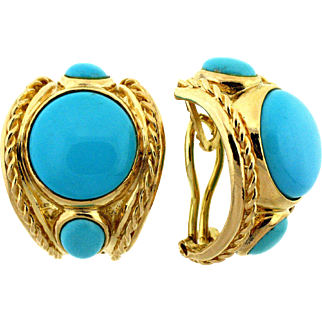 Vintage Persian Turquoise Earrings 14 kt Gold