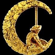 "California ""49"" Gold Nugget Crescent Brooch"