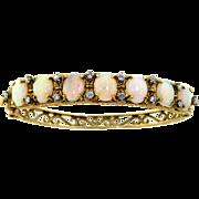 Vintage 14 Kt Gold Opal & Diamond Bangle Bracelet