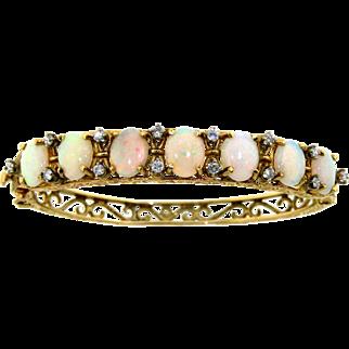 Vintage 14 Kt Gold Opal & Diamond Bracelet