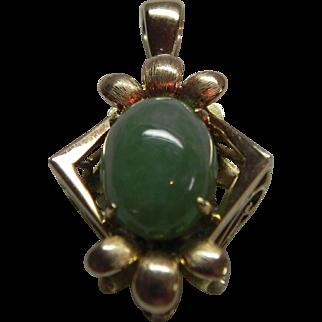 Vintage 14 Kt Gold Jade Pendant