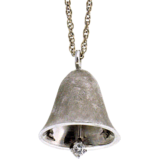 Vintage 14K White Gold 3D Satin Finish Bell with Diamond Clapper Charm Pendant