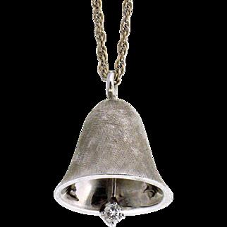 Vintage 14K White Gold 3D Satin Finish Bell with Diamond Clapper Charm Pendant.