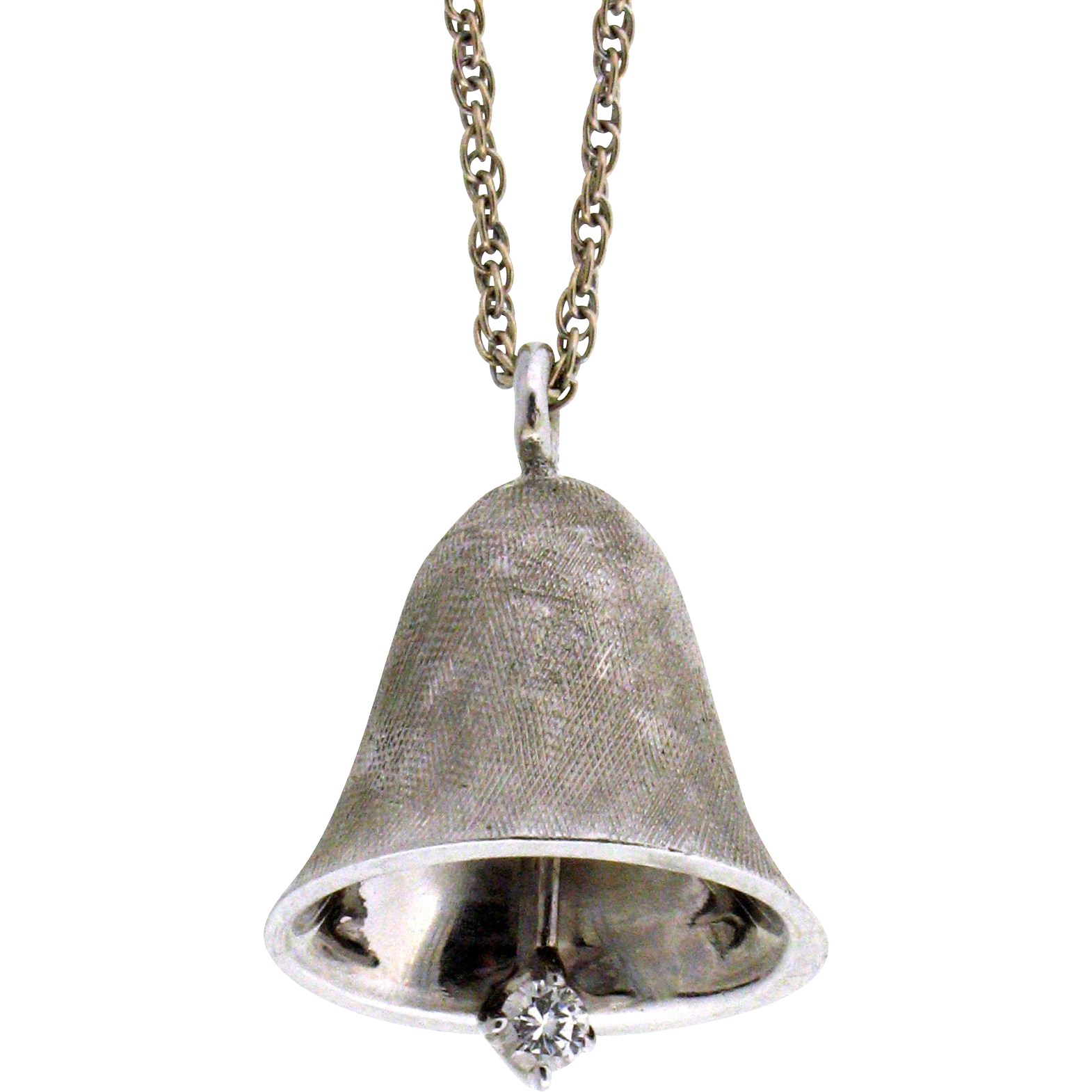 vintage 14 karat bell pendant necklace from