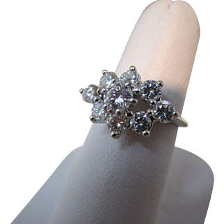 Ladies Diamond Cluster Ring 1.5 Carats 14 Kt White Gold