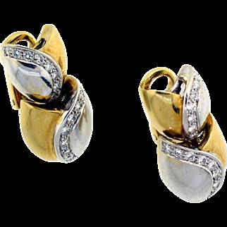 18 karat Two Tone Diamond Earrings