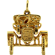 "Unique 14K yellow gold ""Model T"" car pendant/charm with Diamond Headlights"
