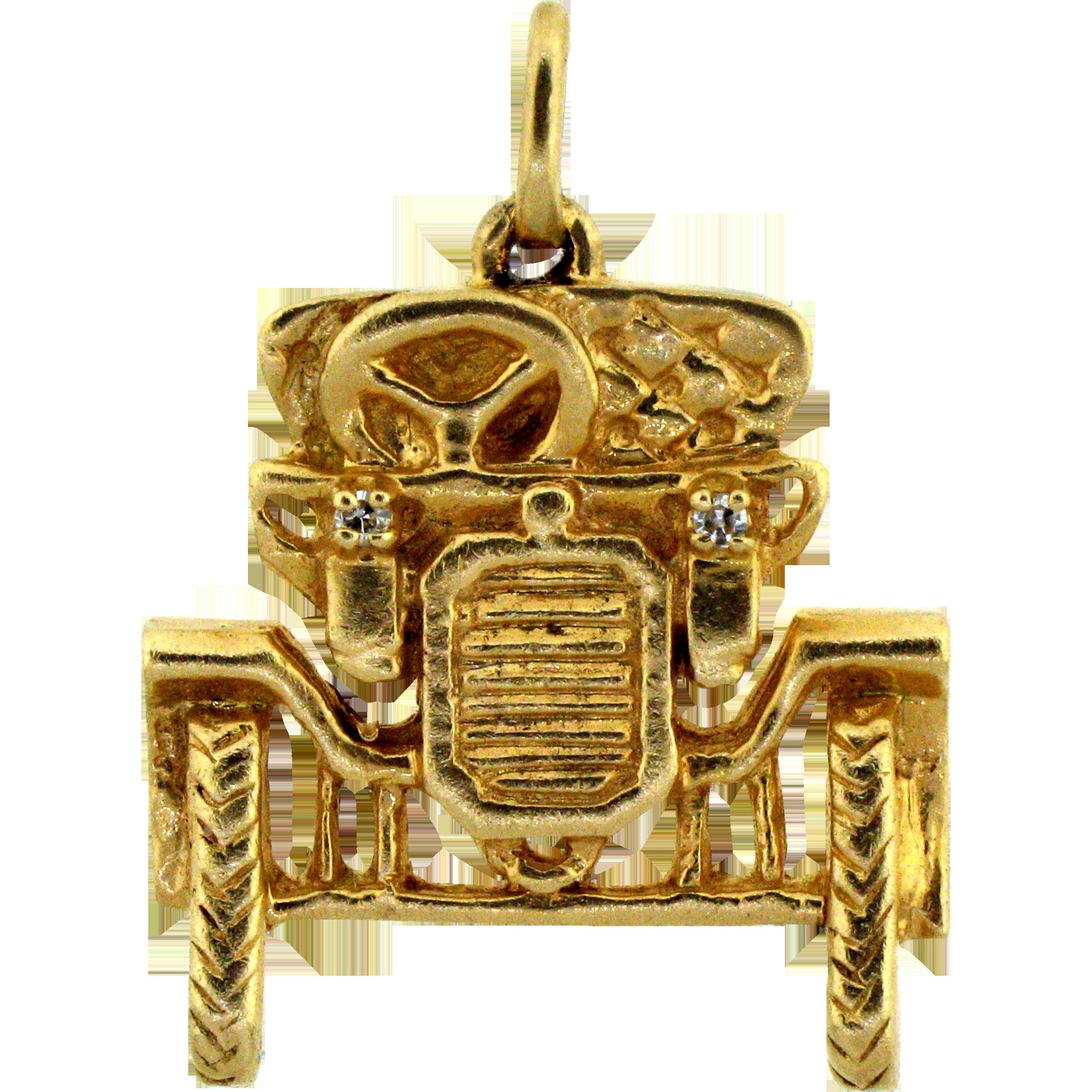 Unique 14 karat model t car pendant charm with diamond for 14k gold mercedes benz pendant
