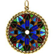 Kaleidoscopic Vintage 18 karat Gold French Stained Glass Pendant