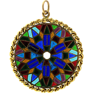Vintage 18 Kt Gold French Stained Glass Pendant