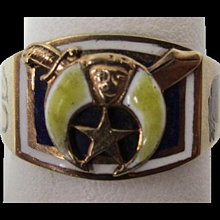 Antique Enamel Shriners 10 kt gold Men's Ring 1927