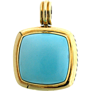 David Yurman 18 Kt Gold & Sterling Silver Turquoise Enhancer/Pendant
