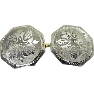Edwardian Platinum Topped 10k Yellow Gold Etched Cufflinks