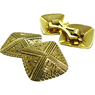 Art Deco Estate 1930s Pyramid Cuff Links Double Sided Hand Carved 10k Gold