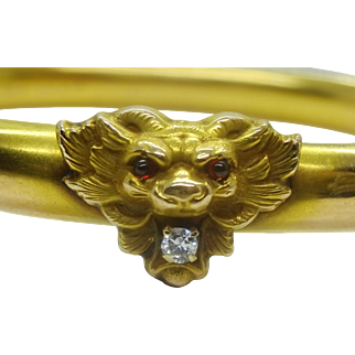 Vintage Art Nouveau Diamond Lion Head Bangle Bracelet, 10k Gold