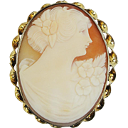 Large 12k Gold Filled Hand Carved Cameo Pin & Pendant Vintage Estate