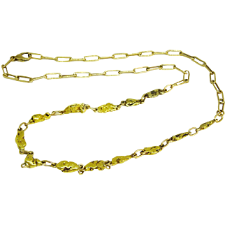 Estate Vintage Yellow Gold Nugget Station Necklace Handmade Elongated Oval Links