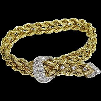 Estate Vintage 14k Gold and Diamond Buckle Bracelet, 1/2 ctw