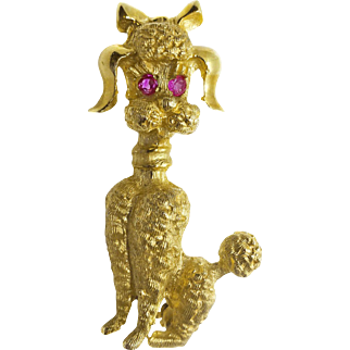 Vintage 14k Gold Figural Poodle Dog Pin Brooch with Ruby Eyes, Signed