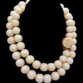 Vintage Pale Pink Natural Angel Skin Coral 13mm Bead Necklace, 14k Gold