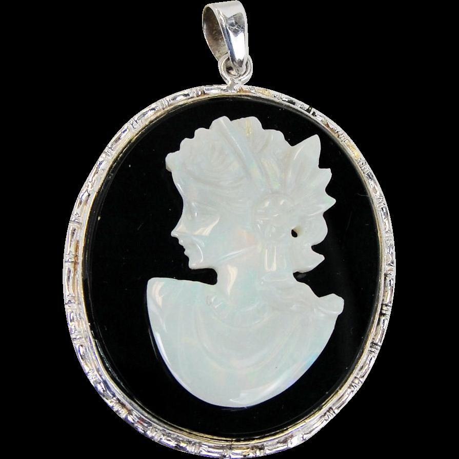Vintage black onyx and opal cameo pendant 14k gold jewelry mart vintage black onyx and opal cameo pendant 14k gold jewelry mart ruby lane aloadofball Choice Image