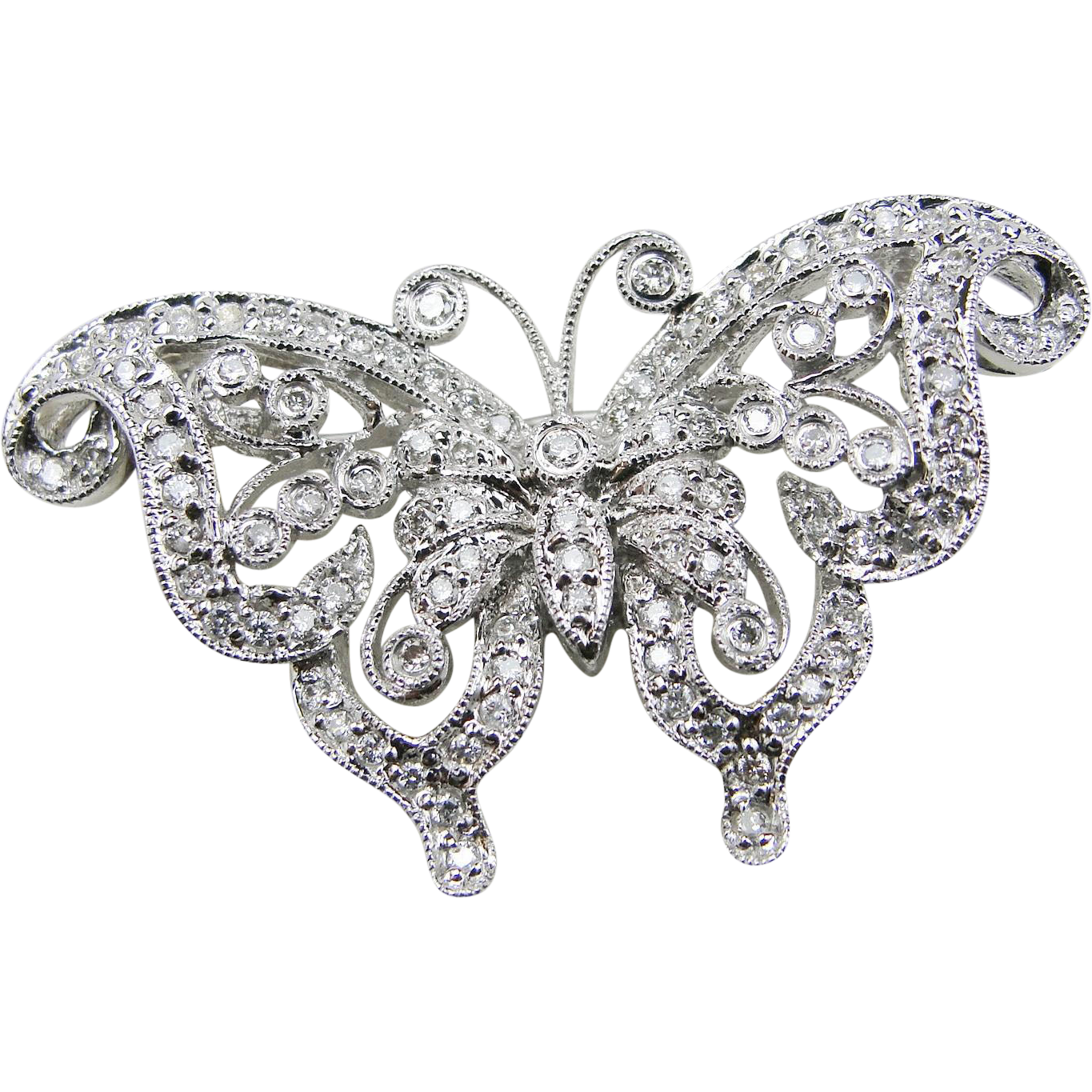 Vintage 14k White Gold Filigree Diamond Butterfly Pin