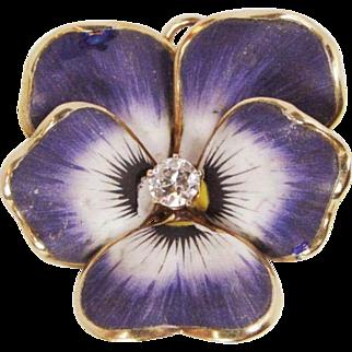Crane Theurer Art Nouveau 14k Gold .20 ct Diamond Enamel Pansy Watch Pin/Pendant
