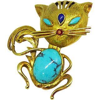 Vintage 1950s Stylized 14k Gold Turquoise Cabochon Cool Cat Pin Brooch