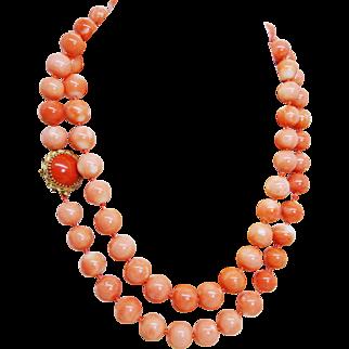 Estate Genuine Pink Rosa Skin Coral Necklace 14k Gold, Opera Length