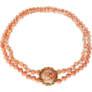 Estate Angel Skin Coral Double Strand Necklace, Hand-Carved Rose 14k Gold Clasp