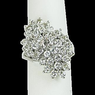 Vintage 3 ctw Diamond Waterfall Cocktail Ring, 14k White Gold