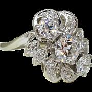 Vintage Estate 1.20ctw Fine Diamond Cocktail Ring 14k White Gold