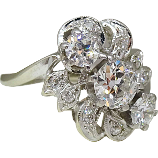 Vintage Estate 1.20ctw Fine Diamond Cocktail Ring 14k White Gold