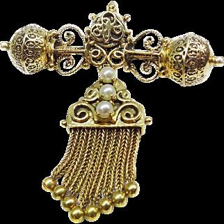 Ornate Edwardian 14k Gold Dangle Lavaliere Pin Brooch Pendant, Salt Water Pearls