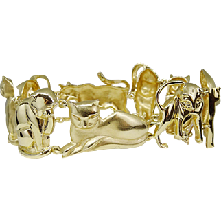 Estate Large Figural Feline Cat Bracelet 14k Yellow Gold, 39 grams, Signed