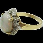 Estate Vintage 14k Gold Fiery Opal Ring, Pretty Diamond Halo