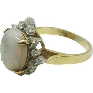Estate Vintage 14k Gold Fiery Opal Ring, Pretty Diamond Halo