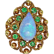 Estate Vintage Natural Jelly Opal Emerald 14k Yellow Gold Ring, Size 6.5
