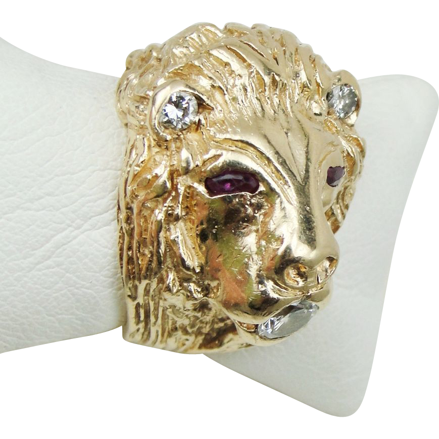 14k Gold Lion Head Ring Ruby Eyes Diamond Ears and Mouth 1 15