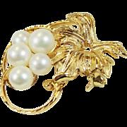 Mikimoto 14k Gold Cluster Pearl Autumn Leaf Pin Brooch Vintage