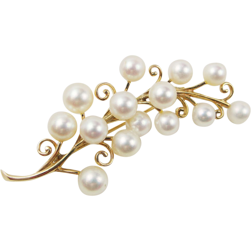 mikimoto 14k yellow gold akoya pearl flower sprig branch pin brooch from jewelrymart on ruby lane. Black Bedroom Furniture Sets. Home Design Ideas