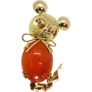 Vintage 14k Gold Carnelian Cabochon Figural Mouse Pin Brooch Ruby Eyes